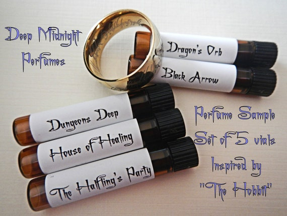 THE HOBBIT inspired PERFUME Sample Set of five vials