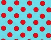 Aqua/Red Quarter Dot Aqua for Michael Miller, 1 yard
