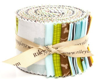 "Puppy Park 2 1/2"" strips Rolie Polie by Bella Blvd. for Riley Blake, 21 pieces"