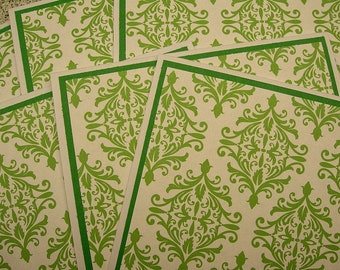 Green Paisley Blank Notecards - Set of 6 - Thank You Cards