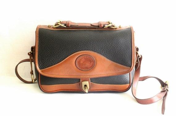 Dooney and Bourke Black Pebble Leather and Tan Color Leather Trim Shoulder Bag // Cross Body Shoulder Bag