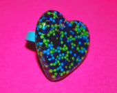 Blue and Green Sprinkle Heart Ring