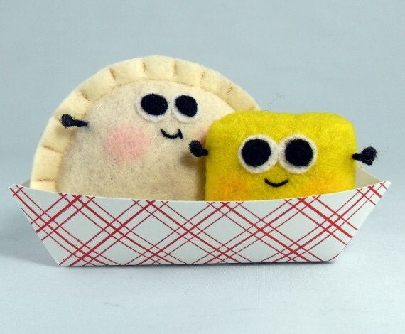 Pierogi and butter plush felt food toys