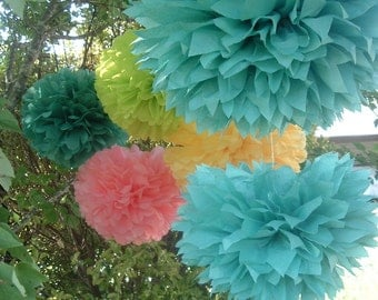 Decorative paper poms. Set of 10. Birthday party, Baby shower, Bridal shower decorations.