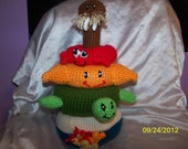 Crochet ocean Sea Life Stacker baby toy crochet toy IT also RATTLES ANY animals you want