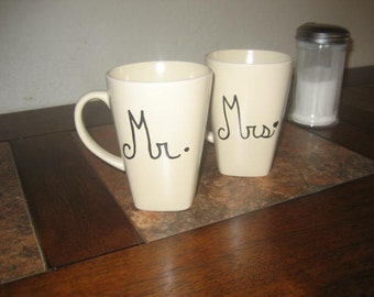 CLEARANCE - Cream Cappuccino Mr. and Mrs. Hand Painted Coffee Mugs - Ready To Ship