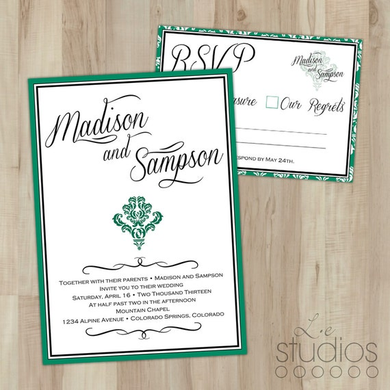 Emerald Wedding Invitation Suite // Professionally Printed