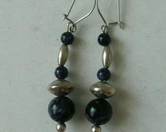 Sodalite and Sterling Silver Beaded Hanging Earrings