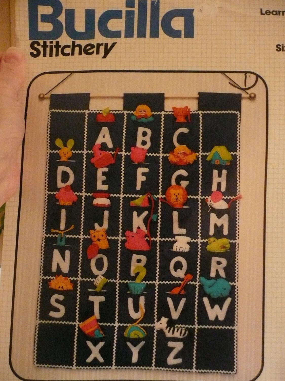 Vintage Bucilla Felt Alphabet Applique Learning Chart Kit