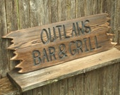 CUSTOM wood  sign -- hand carved -- rustic un painted -- your name or numbers on reclaimed western cedar