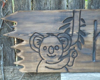 CUSTOM wood  sign -- koala sign baby nursery wall art -- rustic un painted -- custom designs - on reclaimed western cedar
