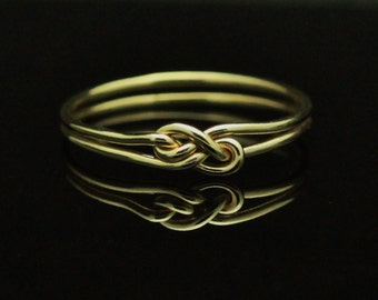 14k Yellow Gold knot ring. Solid Gold wedding band, commitment ring, infinity knot ring, alternative unique engagement wedding