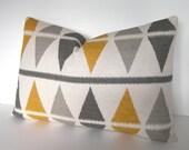 Diamond Ikat Pillow Cover - Charcoal - Dove Grey - Yellow - Gold - Ivory - Accent Pillow - Throw Pillow - Toss Pillow