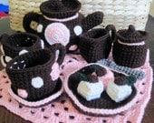 Crochet Polka Dot  Tea Set
