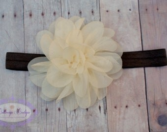 Baby headband, infant headband, newborn headband, cream/ivory flower brown headband, photo prop, cream chiffon flower on brown headband