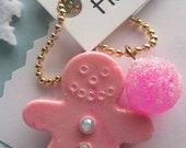 Gingerbread Man Necklace, Pink Gingerbreadman,Christmas Necklace, Stocking Stuffer,  Children's