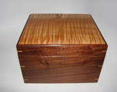 "Earth-Toned Handmade Wooden Box. Keepsake Box with Lovely Tiger Maple and walnut. 9"" x 7"" x 4.5"""