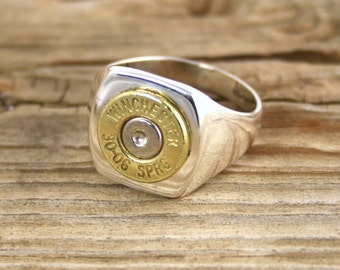 Bullet Ring / Men's Sterling Silver & Brass Bullet Ring WIN-#-BN-MSTER / Men's Sterling Ring / Men's Bullet Ring / Sterling Silver Ring