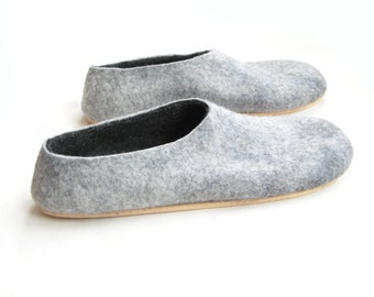 Best Seller - Gray Black Shoes - Felted Wool Slippers - Minimalist Shoes - Christmas in July - House Shoes - Rubber Soles - Color Blocking