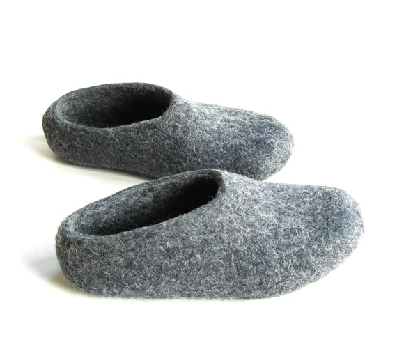 Charcoal Gray Felted Shoes - Wool Slippers - Christmas in July - Minimalist Shoes - Womens Slippers - House Shoes - Rubber Soles