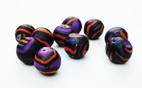 Halloween Handmade Polymer Clay Beads Pumpkin Orange Purple Black Autumn Shimmer Sparkle Stripes Striped Set of 10