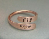 Tiny Heart Angel Wings Fly Ring Copper Wrap Friendship