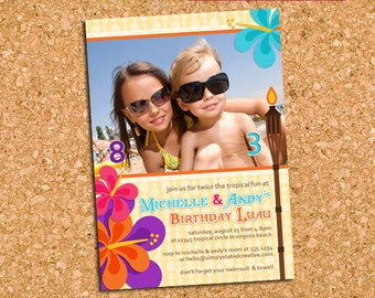 Tropical Photo Invitation for Combined Birthday Party, Hawaiian Luau Tropics Party Invite, Sibling - DiY Printable || Tropical Tickled Two