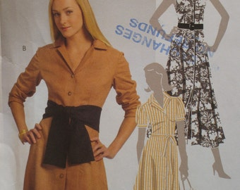 Shirtwaist Dress Pattern, Fitted Bodice, A Line, Button Front, Three Styles Sleeves McCalls No. 5378 UNCUT Size 6 8 10 12 14