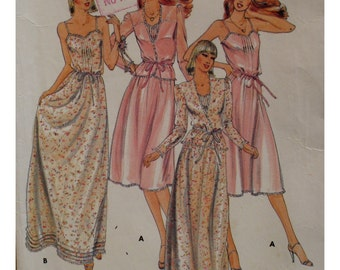"Lingerie Pattern, Nightgown, Shoestring Straps, Front and Hemline Tucks, Robe,Jacket Vintage 1980s Butterick No.3911 Size 10 Bust 32.5"" 83cm"