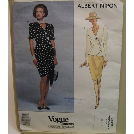 Albert Nipon Side Button Jacket Pattern, Straight Skirt, V Neck Top Vogue American Designer No. 2683 Size 12, 14