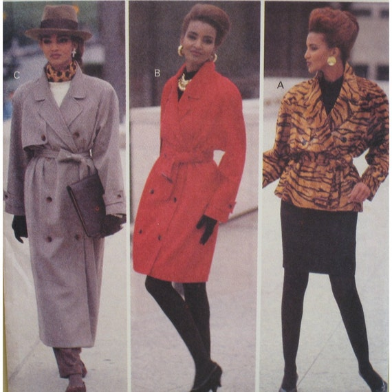 Trench Coat, Jacket Pattern Three Lengths, Notched Collar, Raglan Sleeves, Double Breasted, Butterick No. 6416 UNCUT Size 12 14 16