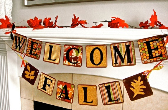 Fall Banner, Fall Decoration, Fall Photo Prop, Fall Mantle Decoration, Autumn Decoration, Fall Leaves, Thanksgiving Decoration, Halloween