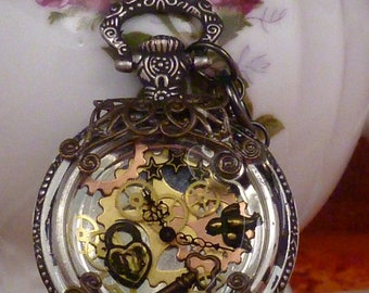 Steampunk Captain pocket watch pendant with vintage filigree PW057