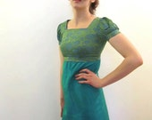 SALE. 1950's. brocade. turquoise. puff sleeves. mini. vintage dress. Sz xs/s.