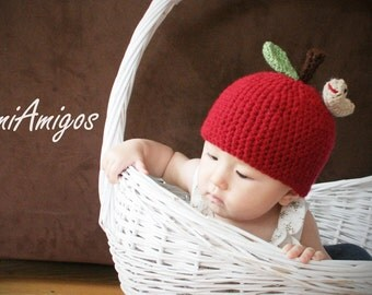 Crochet Cute Apple Hat (6m -12m)