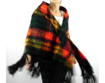 Plaid Wool Blend Shawl by I. Magnin Vintage 1960s 1970s One Size