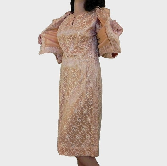 Mad Men Style Lace Dress and Bolero Jacket Light Peach Vintage 1960s Size Small