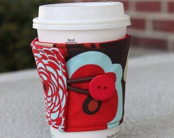 Reusable Coffee Cozy / Sleeve - Mocca by Alexander Henry - Red and Brown Flowers - Pretty Teacher Gift - Inexpensive Unique Present