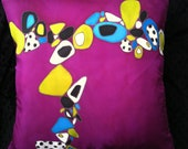 """Throw Pillow,  Hand Painted Silk - """"PURPLE HAZE"""" Made to Order"""