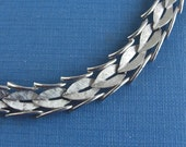Vintage TRIFARI Textured Silver Choker Necklace
