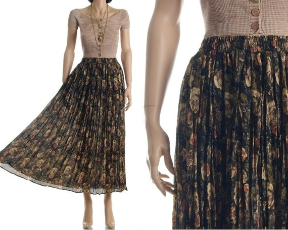 Vintage 90s Maxi Skirt - Sheer Gauze Floral High Waist Long Skirt - XS / S / M / L