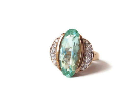 Vintage HUGE Teal CZ Cocktail Ring with Rhinestones, Costume Jewelry Ring, Statement Jewelry, Gold Tone Plated 92.5 Silver, Size 8