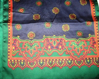 Vintage Silk Scarf Holiday Colors