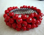 Vintage 1940s Red Art Glass Beaded Reticulated Bracelet