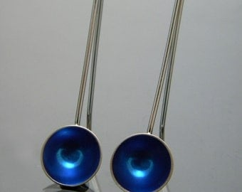 Royal Blue Resin and Sterling Silver Dangle Dot Earrings