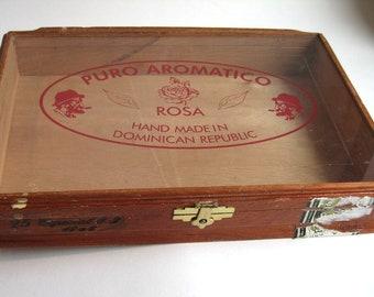 vintage glass front wooden cigar box