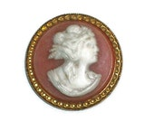 Vintage Large Cameo Button, Coral Color  -- 0829