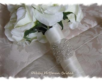Rhinestone Bouquet Wrap, Jeweled Bouquet Cuff, Bridal Bouquet Wrap, Wedding Bouquet Cuff, Cuff Bracelet, No. 3020BW,  Wedding Bouquet Wrap
