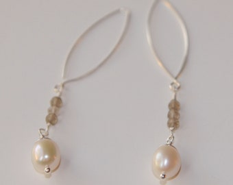 Smoky Quartz and Pearl Earrings