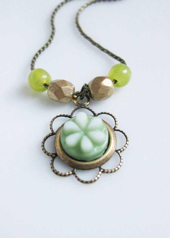 40% OFF SALE! Flower Necklace Green Jewelry Vintage Milk Glass Necklace Autumn Flowers Antiqued Brass Czech Glass Vintage West German Glass